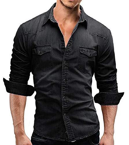 Chemise western à manches longues boutonnée pour homme en jean délavé - Gris - Large