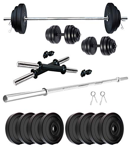 Kore PVC 16 Kg Home Gym Set with One 4 ft Plain Rod and One Pair Dumbbell Rods