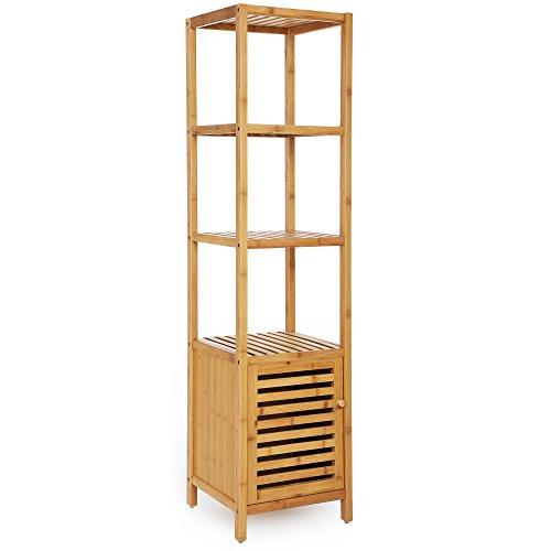 SONGMICS Bamboo Bathroom Storage Floor Cabinet, 4 Tiers Multifunctional Floor Shelving Unit, Free Standing Tower Corner Rack, Natural UBCB50Y
