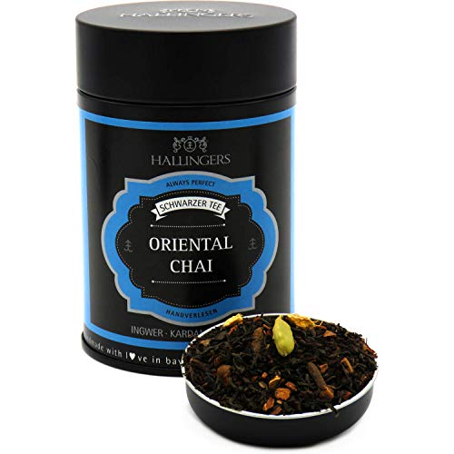 Hallingers Loser Schwarz-Tee mit Ingwer, Kardamom & Nelke (140g) - Oriental Chai (Premiumdose) - zu Weihnachten ideal als Geschenk