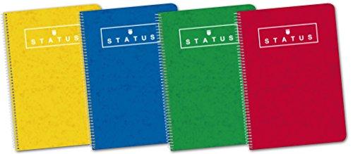 Enri 400088604 Status Cuaderno espiral, 80 Hojas, Tapa extradura, Colores surtidos, Formato 4º, Paquete de 5