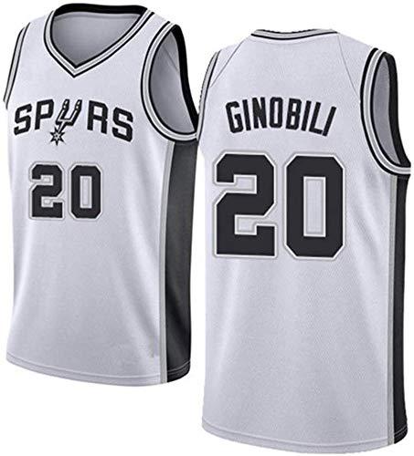 LYY Basketball-Trikots, San Antonio Spurs # 20 Manu Ginobili - Herren Training Kleidung Sleeveless T-Shirt Weste, Komfort Stoff Tops Uniformen,Weiß,XXL(185~190CM)