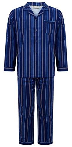 Walker Reid Herren 200GSM blau 100% Flanell Baumwolle Langarm Knopf obenKragen traditionelle gestreifte Check Pyjama Set Größe XXXXL