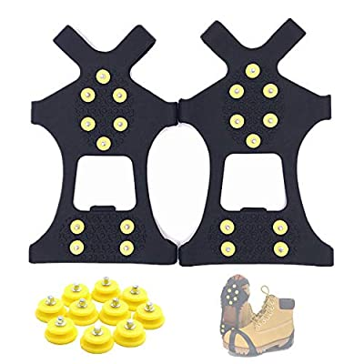 Fiersh Ice Cleats - Snow Grips Crampons Anti-Slip Traction Cleats Ice & Snow Grippers for Shoes and Boots - 10 Steel Studs Slip-on Stretch Footwear for Women Men Kids (Extra 10 Studs) (Large)