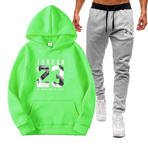 ZGRW Juego de chándal para hombre Jordan 23 # uniforme de baloncesto, pantalones para correr al aire libre, pantalones deportivos, pantalones para hombre y mujer, verde-L