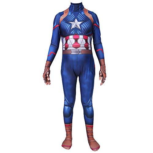 Hope Marvel Avengers 4 Capitan America Costume, Collant Siamese Bambini Adulti Cosplay Abbigliamento Halloween Movie Party Costume Tuta Masquerade Puntelli,Blue-180~185 cm