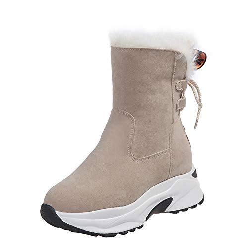 Women Warm High Top Sneakers Winter Plush Lace Up Faux Suede Thick Bottom Fashion Platform Snow Boots Beige