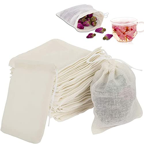 VANANA 50 Pcs Cotton Muslin Bags, Drawstring Bags Reusable Small Mesh Tea Coffee Filter Bags for Cooking Snack Spices Crafts Soap Nuts Jewellery Decor & Favour Gifts for Home Supplies 8cm10cm