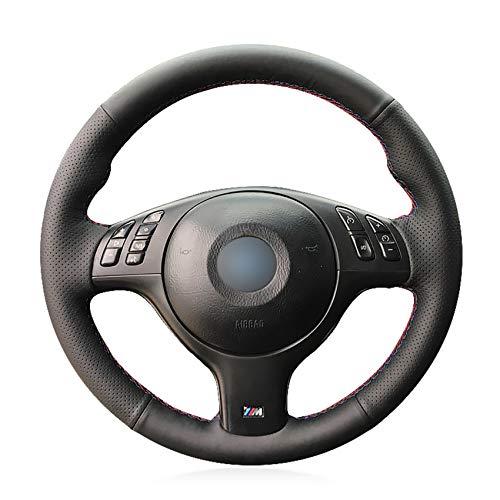 JNXZHQC Cubierta del Volante del Coche Cosida a Mano en CueroNegro.para BMW M Sport E46 330i 330Ci E39 540i 525i 530i M3 E46
