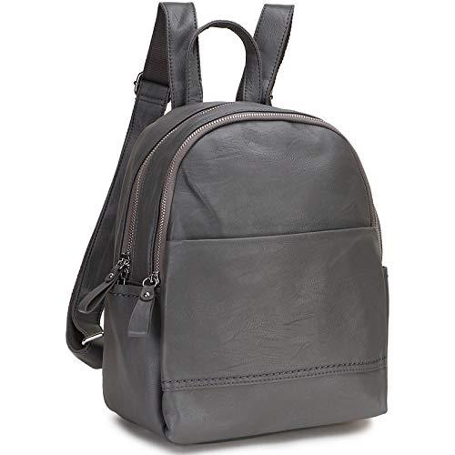 RAVUO Zaino Donna, Moda Zaino di Pelle PU Borsa Zainetto Donna Casual Universita Elegante Backpack Ragazze Grigio