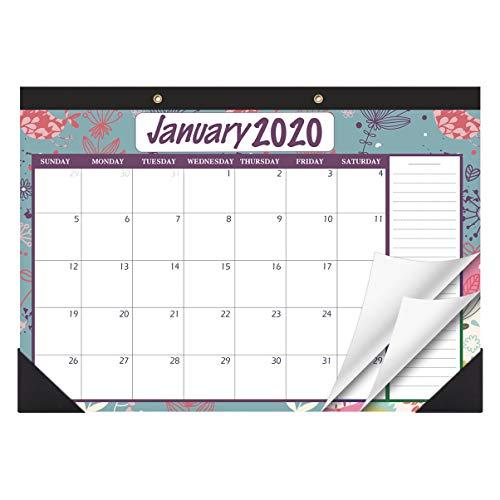 STOBOK Calendario de escritorio 2020-2021 Calendario de pared Calendario familiar Calendario de escritorio mensual, enero 2020 - diciembre 2021, 43x30 cm, flores vintage