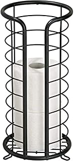 INDIAN DECOR 28318 Decorative Metal Free Standing Toilet Paper Holder Stand with Storage for 3 Rolls of Toilet Tissue - fo...