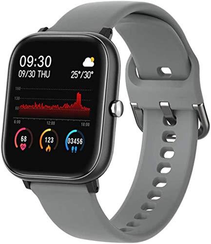 Reloj inteligente Full Touch 2020 para hombres y mujeres, reloj inteligente deportivo con frecuencia cardíaca, reloj impermeable gris