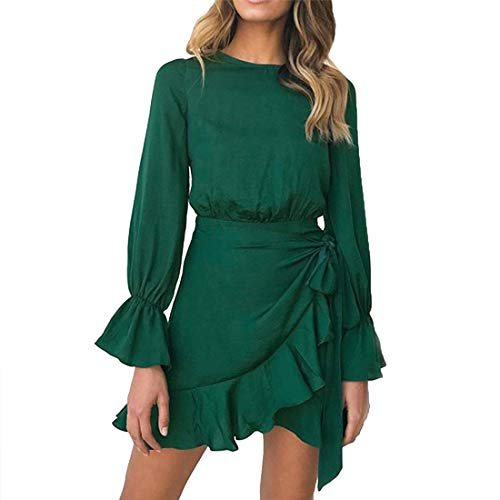 WEEPINLEE Womens Long Sleeve Round Neck Ruffles Wrap Dresses Party Dress (Dark Green,L)