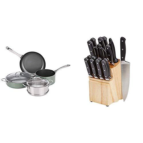 Amazon Basics Ensemble de 6 Accessoires de Cuisine Multifonctions et Anti-adhésifs, pour plaques à Induction + Bloc de Couteaux