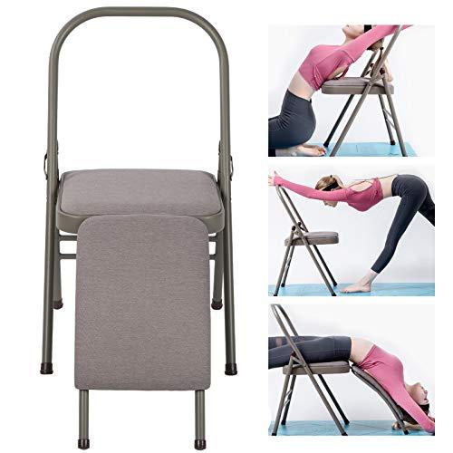 Gedourain Silla de la Yoga del Pino, Silla Auxiliar Desmontable de la Yoga para el Yoga para el Entrenamiento del Pino