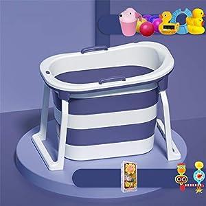 LHY BATHLEADER Bañeras para Bebes Plegables con Juguetes De Baño, Bañera Bebe Portatil Aumentar La Altura, Bañeras para Bebes Fácil De Drenar,Púrpura