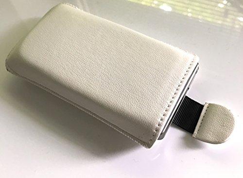 Handytasche Creme-Weiß Geeignet für Nokia 105 (2017) Dual Sim - Handy Tasche Schutz Hülle Slim Soft Case Cover Etui Weiss mit Auszugband