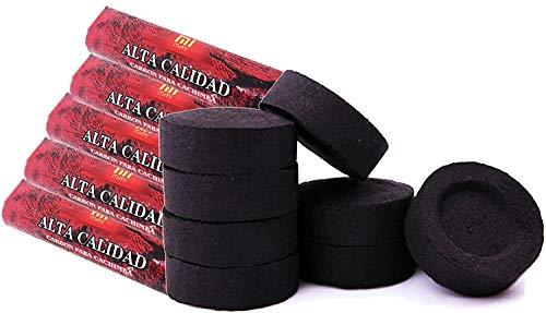 [Pack] Disques de Charbon pour brûleur, encens, brûleur d'encens, fumée, Shisha, narguilé, narguilé, Bong. Durable. pour Un Usage Domestique. 3,3 centimètres de diamètre. (50)