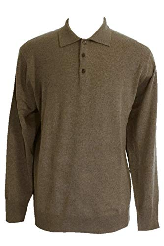 Shephe Men's Polo Cashmere Sweater with 3-Button Dark Camel XXX-Large