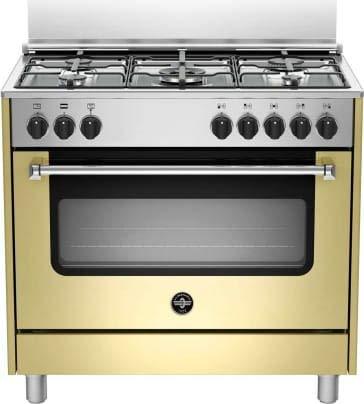 Cucina a gas con forno elettrico con grill, 90x60 cm, N° 5 Fuochi, colore Crema