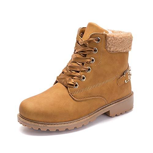 NEOKER Winterschuhe Damen Stiefeletten Winterstiefel Gefüttert Kurzschaft Stiefel Warm Ankle Combat Boots Khaki 38