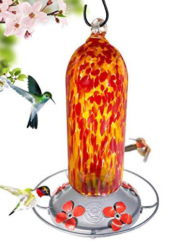 Grateful Gnome - Hummingbird Feeder - Hand Blown Glass - Fiery Bell Tower - 20 Fluid Ounces