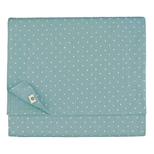 Linen & Cotton - Mantel ANTEA Muy Elegante de Tela de 100% Lino Natural y Lavado a la Piedra (137 x 250cm, Azul Huevo de Pato)