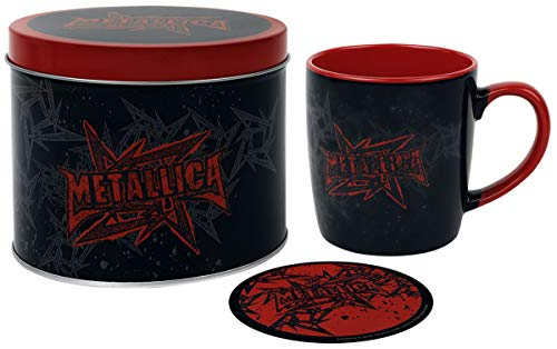 Metallica Pyramid International Tasse und Untersetzer, Geschenkdose, Motiv: Sterne und Flügel, Einheitsgröße