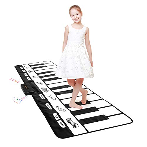 """TWFRIC Giant Piano Mat 24 Keys Floor Piano Mat for Kids 71"""" Musical Keyboard Play Mat Dance and Learn Mat for 3-8 Years Old Boy Girl"""
