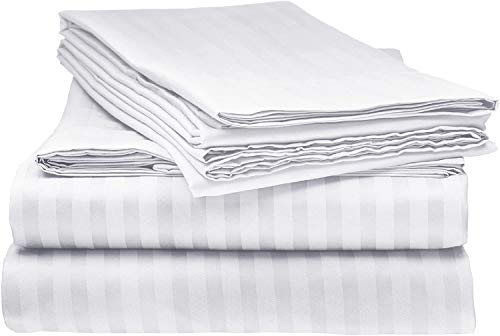 4 Piece 800-Thread-Count 100% Cotton Sheet White Stripe Twin XL-Sheets Set, Long-Staple Cotton Best-Bedding Sheets for Bed, Soft & Silky Sateen Weave Fits Mattress Upto 18'' Deep Pocket