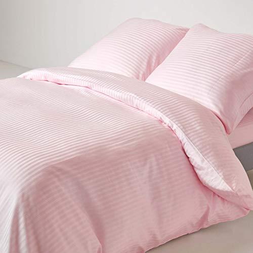 Homescapes 3-teiliges Bettwäsche-Set, Bettbezug 240 x 220 cm mit 2 Kissenbezügen 80 x 80 cm, 100% ägyptische Baumwolle mit Satin-Streifen, Fadendichte 330, rosa