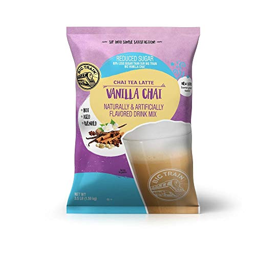 Big Train Chai Tea Latte, No Sugar Added Vanilla, 3.5 Pound, Powdered Instant Chai Tea Latte Mix, Spiced Black Tea with Milk, For Home, Café, Coffee Shop, Restaurant Use