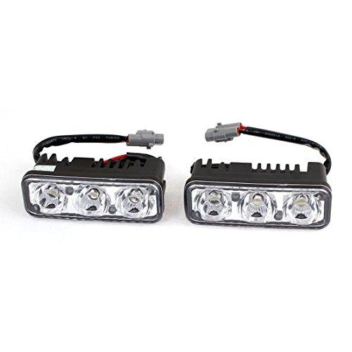feux diurnes a LED - TOOGOO(R) 2 Pcs Vehicule de voiture DRL Blanc 3 LED Feux de jour Lampe de tete 9W
