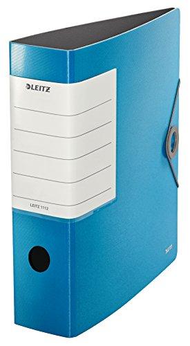 Leitz, Archivador de Palanca, Azul Claro, A4, Lomo recto de 8,2 cm ancho, Cierre con Goma elástica, Polyfoam Ligero, 180° Solid, 11120030