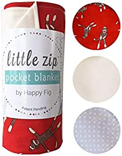 LatchPal Sock Monkey Lightweight Baby Blanket  100% Cotton with Hidden Zipper Pocket Lined with Gender Neutral Polka Dot Pattern for Baby (Exclusive Red Sock Money) No Fill   Reduced Allergens