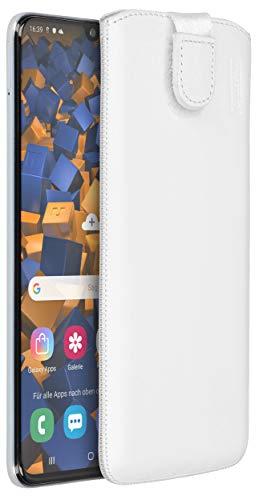 mumbi Borsa in vera pelle compatibile con Sony Xperia V, (Linguetta con funzione di retrazione, supporto estraibile), bianco