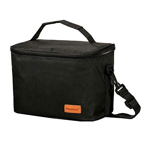 Parateck Isolierte Lunchtasche Bento-Box Container Tote Auslaufsicher Mittagessen Kühltasche für Schule Arbeit Camping Picknick Schwarz