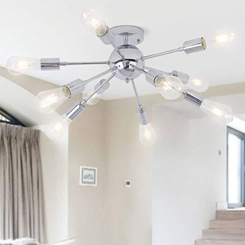 Moderno Satélite Lámpara de Techo Iluminación Colgante E27 Lámparas de Araña Metal Ligero para Sala de Estar Dormitorio Loft Cafe Studio Bombillas Not Incluidas (Cromo Plateado, 10-Arm)