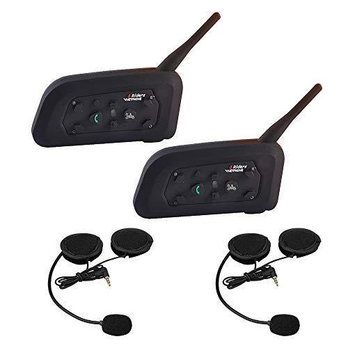 Bluetooth Intercom Casque de Moto Kit V6 Interphonie 1200m 6 Cavaliers de Communication Main Libre Ecouteur avec Anti Bruit Communication Système Microphones pour Moto Vélo VTT Voiture (2 Pack)