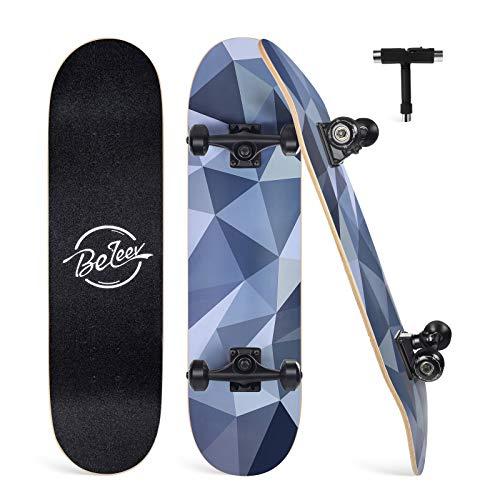 Beleev Skateboard Erwachsene 31x8 Zoll Komplette Cruiser Skateboard für Kinder Jugendliche Anfänger, 7-lagiger Kanadischer Ahorn Double Kick Deck Concave mit All-in-one Skate T-Tool (Diamond)
