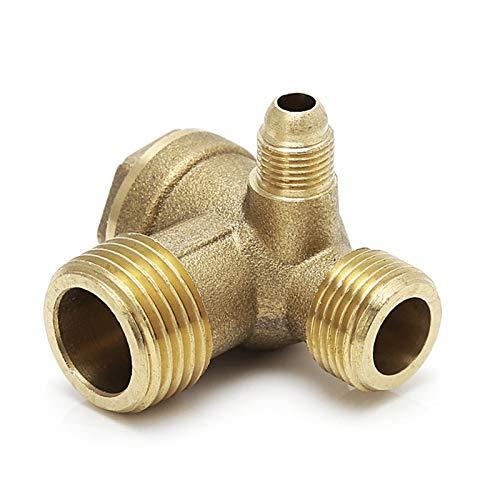 Tivivose Rosca macho de 3 vías metal Compresor de aire Comprobar dorado Válvula