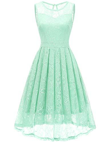 Gardenwed Damen Kleid Retro Ärmellos Kurz Brautjungfern Kleid Spitzenkleid Abendkleider CocktailKleid Partykleid Mint XL