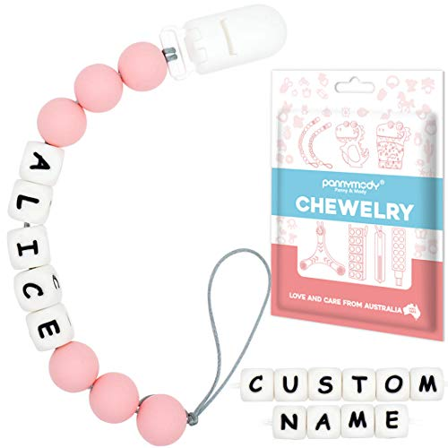 Pacifier Clip Personalized Name, Custom Made Silicone Pacifier Clip, Dummy Clip, Binky Holder Soother Chains for Baby Boys Girls(Quartz)