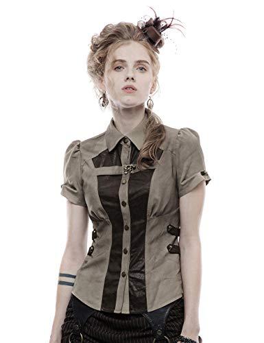 Punk Rave Frauen Gothic Revers Kurzarm Hemden Spleißen und Abnehmen Bluse Lady Girls Tops Kaffee XL
