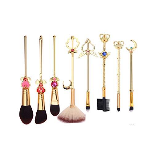 8HAOWENJU Le Cadeau d'anniversaire du Pinceau de Maquillage Set Sailor Moon Débutant Outils Ombre à paupières (Couleur : Or, Style : B)