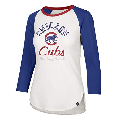 '47 Chicago Cubs Women's Splitter 3/4 Long Sleeve Raglan Tee Shirt - MLB White LS T-Shirt (Small)
