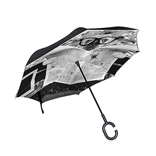 Oyihfvs French Bulldog Reading Newspaper Large Inverted Umbrella, Rain Reverse Sun Parasol, Strong Double Layer Car Umbrella with UV Protection Upside Down with C-Shaped Handle