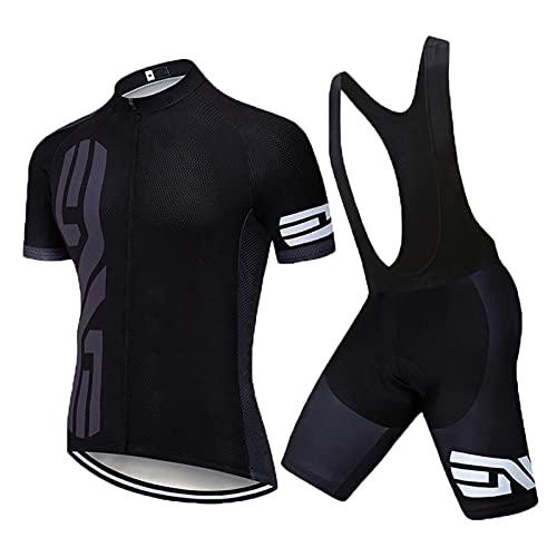 Ciclismo De Manga Corta Jersey + De 19 Gel Acolchado Pantalones Cortos De Ciclismo Traje De Ciclismo Transpirable Pro Equipo Combo Ropa Conjunto De Verano (Negro 1,L)