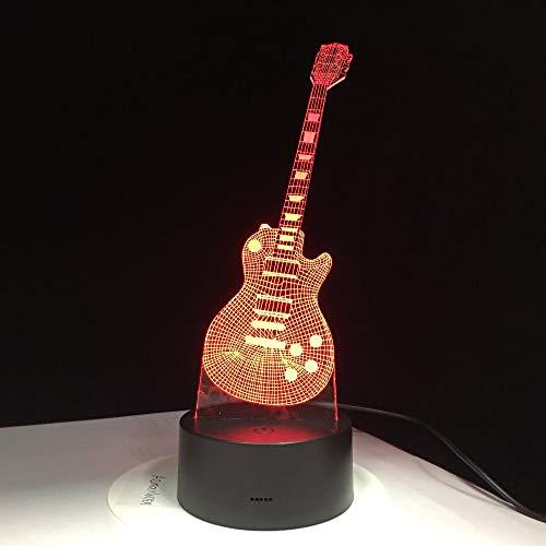 Lampada a LED per chitarra elettrica 3D Lampada da tavolo USB colorata Lampada da notte per bambini che dorme Musica Touch Control o telecomando Regali per bambini